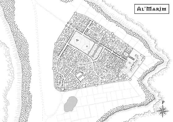 Stadtplan der Oase Al'Mharim