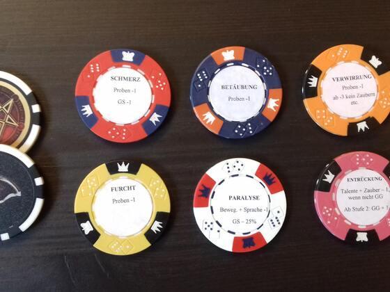 DSA 5 Zustände auf Poker-Chips, selbstgebastelt