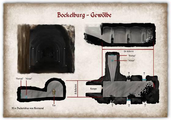 Plan des Gewölbes unter der Bockelburg, Zweimühlen